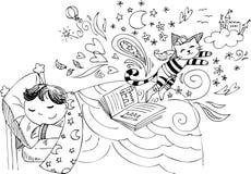作梦关于童话的逗人喜爱的孩子 向量例证