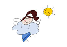 逗人喜爱的矮小的天使女孩 免版税库存图片