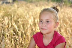 作梦在麦田的逗人喜爱的愉快的小女孩 库存图片