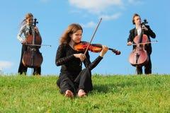 作用天空小提琴手大提琴奏者 库存照片