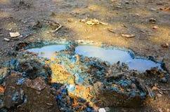 作用环境从化学制品和重金属在土壤 图库摄影