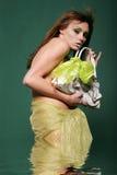 作用glamor手袋性感的水妇女 库存照片