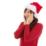 作白日梦的亚裔圣诞节妇女 库存照片