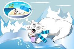 作白日梦的北极熊 免版税库存照片