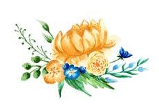 作者开花i绘画照片水彩 手画五颜六色的构成 在空白background.close的花束 免版税库存照片
