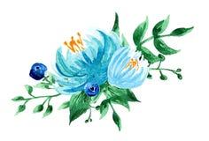 作者开花i绘画照片水彩 手画五颜六色的构成 在空白background.close的花束 免版税库存图片