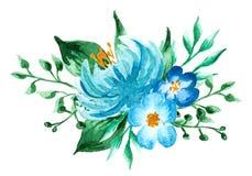 作者开花i绘画照片水彩 手画五颜六色的构成 在空白background.close的花束 免版税图库摄影