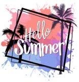 你好与五颜六色的泼溅物和棕榈的夏天设计 库存照片