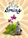 你好与庭院花和石头的春天横幅 库存图片