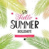 你好与棕榈叶的夏天字法 免版税库存照片