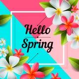 你好与美丽的五颜六色的花的春天背景,传染媒介 库存照片