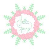 你好与花的春天框架 免版税库存照片