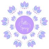 你好与莲花的春天框架 免版税库存图片