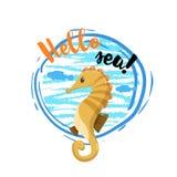你好与里面大蓝色圈子的海海报和海水鱼和波浪 逗人喜爱的可爱的平的设计海马吉祥人 免版税图库摄影