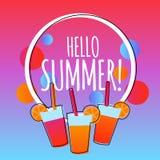 你好与饮料的夏天现代梯度背景 向量例证