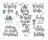你好冬天季节印刷术集合 库存照片
