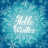 你好冬天文本 传染媒介刷子字法你好冬天 传染媒介与习惯书法的卡片设计 冬天季节卡片,问候 免版税库存图片