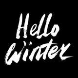 你好冬天汇集文本 向量 字法 用手画 说明刷子 信函 免版税图库摄影
