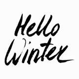 你好冬天汇集文本 向量 字法 用手画 说明刷子 信函 库存图片