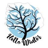 你好冬天题字与杉树、驯鹿、现实降雪和装饰元素的贺卡背景 圣诞节d 库存图片