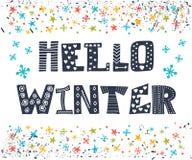 你好冬天贺卡 冬天概念卡片 逗人喜爱的明信片w 库存图片