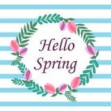 你好在一个圈子的春天在与flowe的蓝色镶边背景 向量例证