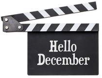 你好在墙板的12月文本 免版税库存图片