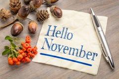 你好在餐巾的11月 免版税图库摄影