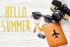 你好夏天文本、旅行和旅行癖概念,夏天vacatio 图库摄影