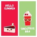 你好夏天樱桃外卖圆滑的人逗人喜爱的kawaii蛋糕,装饰了用新鲜的樱桃、桃红色奶油和巧克力结冰 皇族释放例证