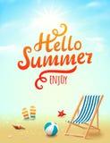你好夏天海报 你好在海滩背景的夏天题字与设计元素 pink scallop seashell 免版税库存图片