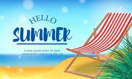 你好夏日在海滩热带季节风景的旅行假日与椅子 免版税库存图片