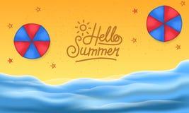 你好夏日在海滩热带季节风景的旅行假日 库存照片
