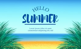 你好夏日在海滩热带季节风景的旅行假日 库存图片