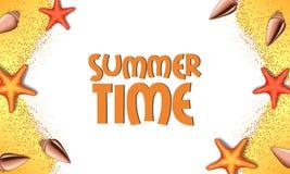 你好夏时假日从顶视图的旅行沙子与海星和壳 库存照片
