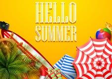你好夏时假日横幅 热带叶子和海滩元素收藏顶视图在橙色背景 库存例证