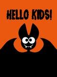 你好孩子!在橙色背景的棒 图库摄影