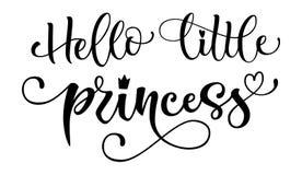 你好小的公主行情 婴儿送礼会手拉的现代书法传染媒介字法,奇怪样式文本商标词组 向量例证