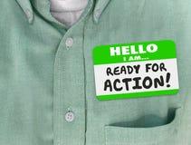 你好我准备好行动名牌绿色衬衣 免版税图库摄影