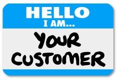 你好我是您的顾客名牌贴纸 图库摄影