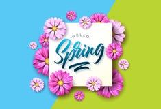 你好春天与美丽的五颜六色的花的自然例证在绿色和蓝色背景 设计花卉向量 库存图片