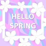 你好春天与花的贺卡,现代纸削减了样式 国际妇女` s天,您的3月8日模板 库存图片