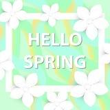 你好春天与花的贺卡,现代纸削减了样式 国际妇女` s天,您的3月8日模板 免版税库存照片