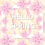 你好春天与花的贺卡,现代纸削减了样式 国际妇女` s天,您的3月8日模板 免版税库存图片