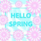 你好春天与花的贺卡,现代纸削减了样式 国际妇女` s天,您的3月8日模板 图库摄影