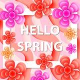 你好春天与花的贺卡,现代纸削减了样式 国际妇女` s天,您的3月8日模板 免版税图库摄影