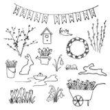 你好春天剪影集合 第一朵花,从事园艺和在上写字 皇族释放例证