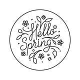你好春天商标 圈子自然象 黑白图表花卉设计 也corel凹道例证向量 10 eps 免版税图库摄影