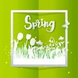 你好春天方形的横幅 库存图片