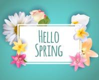 你好春天横幅问候与五颜六色的花元素的设计背景 也corel凹道例证向量 免版税库存照片